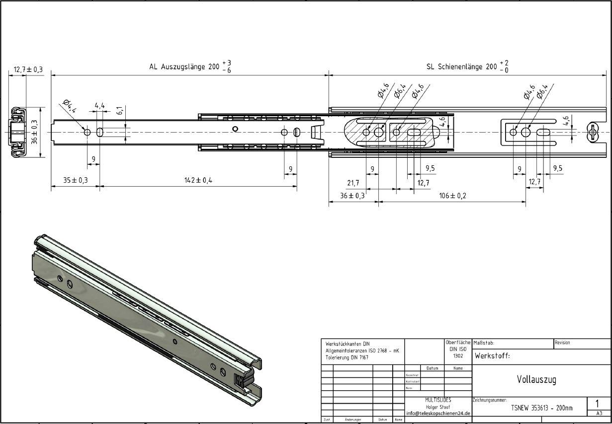 Vollauszug Tsnew 353613 200mm 7 50