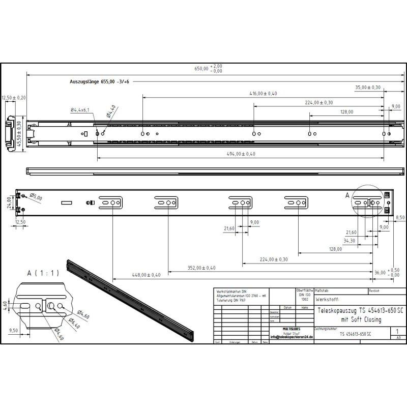 Teleskopauszug ts 454613 650mm sc 1750 for Teleskopauszug