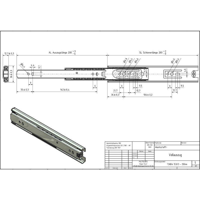 Vollauszug tsnew 353613 200mm 750 for Vollauszüge